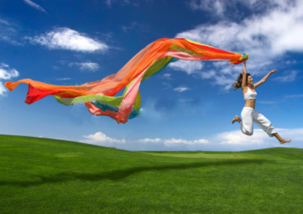 Joy - woman with scarf flying